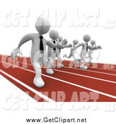 Clip Art of a Race Between 3d White Businessmen Hunting for a Job by 3poD