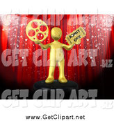 Clip Art of a Red Theater Curtain with Confetti and a 3d Gold Man by 3poD