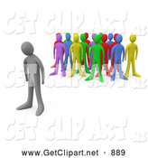 Clip Art of a Sad Gray Man Standing Alone near a Crowd of Different Colored People, Symbolizing Depression, Bullying, Standing out by 3poD