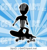 Clip Art of a Skateboarder Silhouetted in Black Jumping and Catching Air over a Blue Background by 3poD