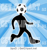 Clip Art of a Soccer Player Person with a Soccer Ball Head Running Right by 3poD