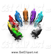 Clip Art of a Support Group of 3d Colorful People in Chairs by 3poD
