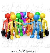Clip Art of a Team of 3d Colorful Diverse Business Men Stacking Their Hands by 3poD
