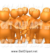 Clip Art of a Team of 3d Orange People with Their Hands All In, Cropped by 3poD