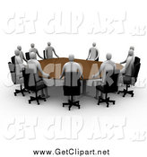 Clip Art of a Team of 3d People Holding a Meeting by 3poD