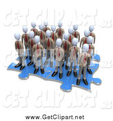 Clip Art of a Team of 3d White Businessmen Associates Standing on Connected Puzzle Pieces by 3poD