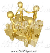 Clip Art of a Team of Four 3d Golden People Holding Hands on Linked Puzzle Pieces by 3poD