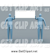 Clip Art of a Two 3d Blue People Presenting a Blank Sign on Gray by 3poD