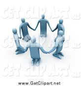 Clip Art of A3d Blue People Kneeling and Holding Hands in a Unity Circle by 3poD