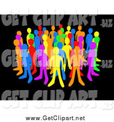 Clip Art of Diverse Colorful People Standing Together over Black by 3poD