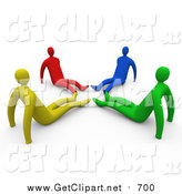 Clip Art of Diverse Yellow, Red, Blue and Green People Seated on the Floor with Their Feet in a Circle by 3poD