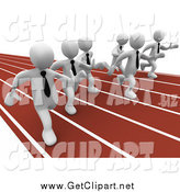 Clip Art of Racing 3d White Businessmen on a Track by 3poD