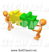August 10th, 2014: Clip Art of Two 3d Orange Men Holding Together Colorful Puzzle Pieces to Find a Solution by 3poD