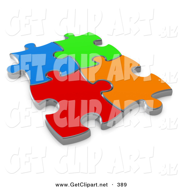 3d Clip Art of 4 Different Colored Puzzle Pieces Connected over a White Background, Symbolizing Interlinking for Seo Website Marketing, Teamwork and Diversity