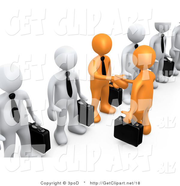 3d Clip Art of a 3d Orange Business Men with Black Briefcases Shaking Hands in a Line of White Men