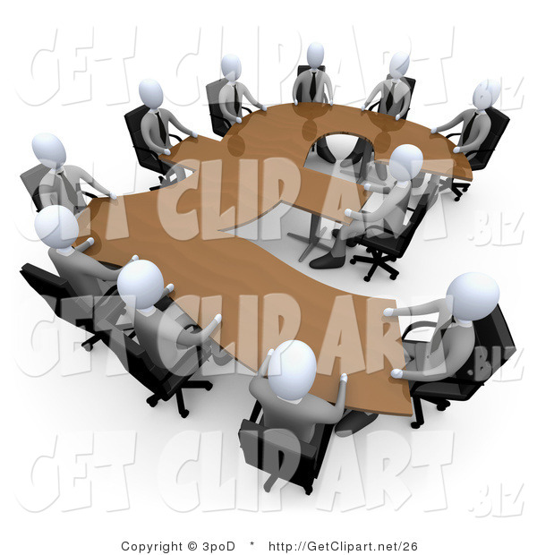 3d Clip Art of a 3d White Business People in a Meeting Around a Wooden British Pound Shaped Table