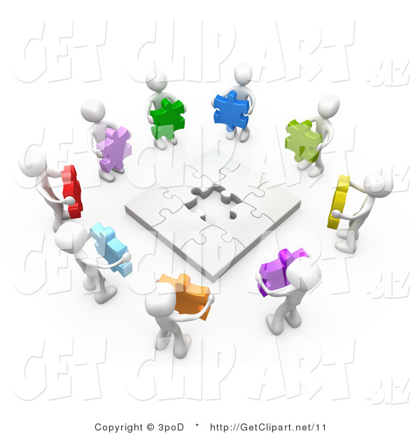 3d Clip Art of a 3d White People Holding Colorful Puzzle Pieces, Working Together to Solve a Puzzle