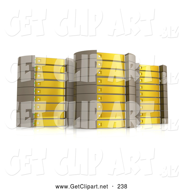3d Clip Art of a Array of Three Yellow Server Towers Hosting Services to Customers