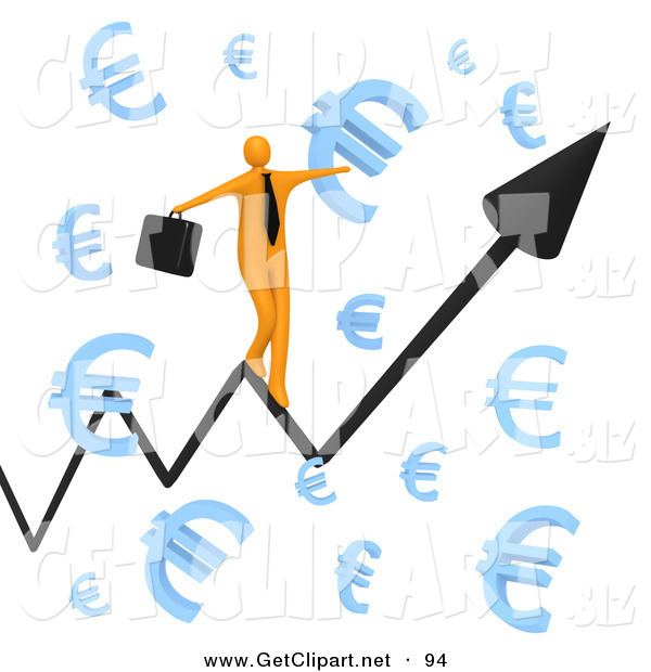 3d Clip Art of a Balancing Happy Orange Businessman Carrying a Briefcase and Balancing on an Increasing Black Arrow of a Graph Through Floating Blue Euro Symbols