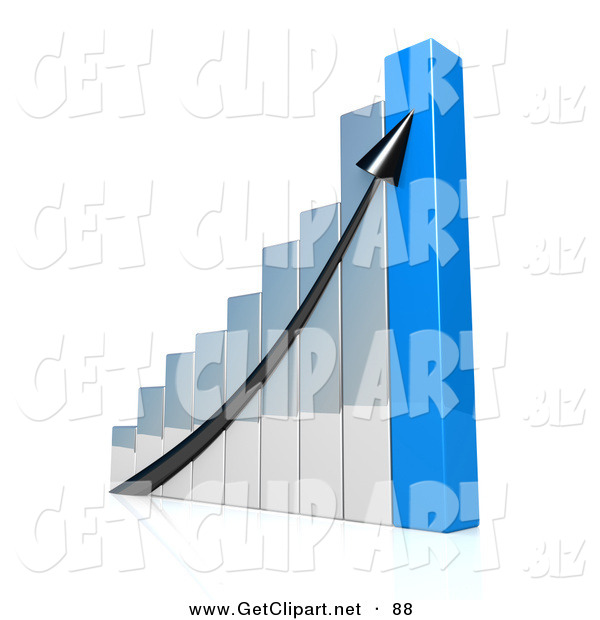 3d Clip Art of a Black Arrow Going up an Ascending Silver and Blue Bar Graph Chart Depicting an Increase in Sales