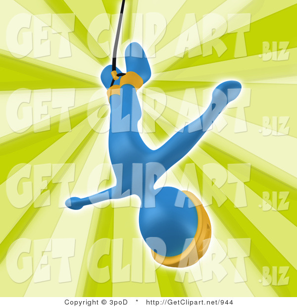 3d Clip Art of a Blue Bungee Jumper Man in a Yellow Helmet, Falling While Bungee Jumping