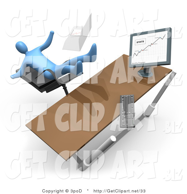 3d Clip Art of a Blue Business Person Knocking His Computer off His Desk As He Is Falling Backwards After Clumsily Leaning Too Far Back in a Chair at His Computer Desk While Comparing Graphs on a Printout and on the Computer