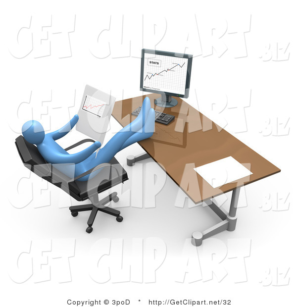 3d Clip Art of a Blue Business Person Relaxing at His Desk While Seated in a Chair in Front of a Computer, His Feet Crossed and up on the Desk While Leaning Back and Looking at Graphs Showing an Increase in Sales