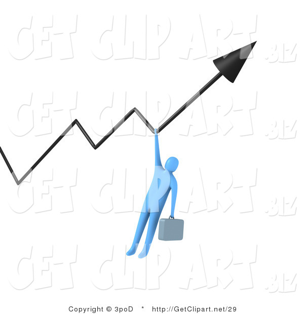 3d Clip Art of a Blue Businessman with a Briefcases, Gripping a Profit Arrow That Is Going Upwards