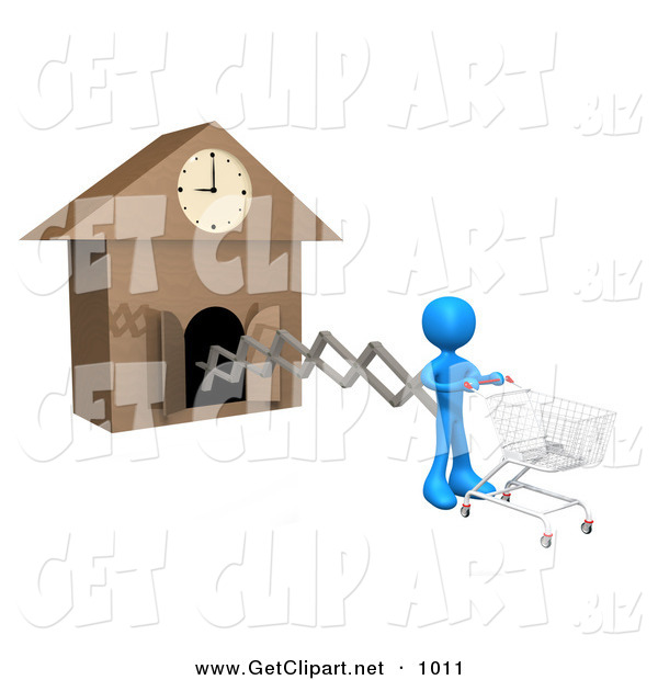 3d Clip Art of a Blue Figure Pushing an Empty Shopping Cart on the End of a Cuckoo Clock Arm, Symbolizing a Special Sales Promotion That Starts at a Certain Time or a Person on a Schedule