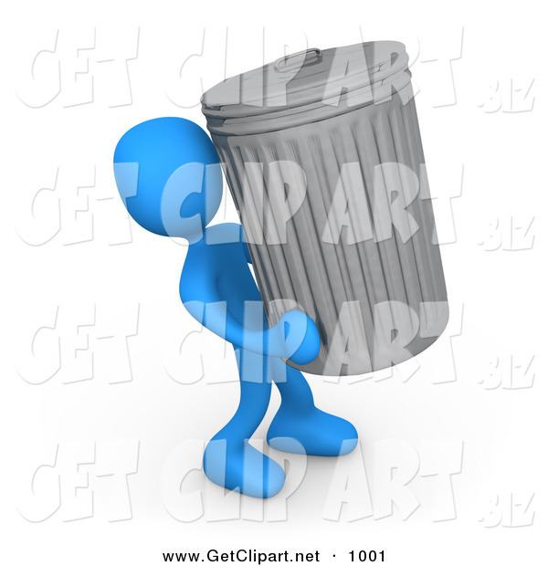3d Clip Art of a Blue Man Carrying a Big Trash Can out to the Curb on Garbage Day