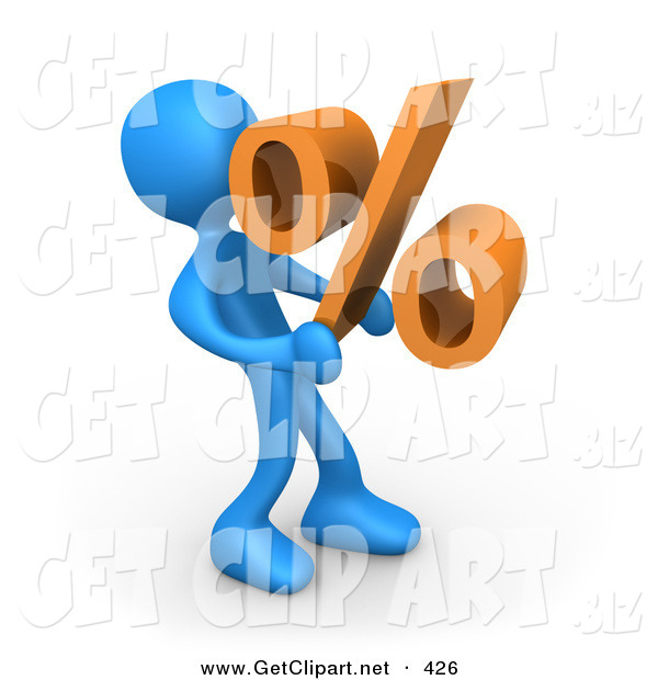 3d Clip Art of a Blue Man Carrying a Heavy Orange Percentage Sign