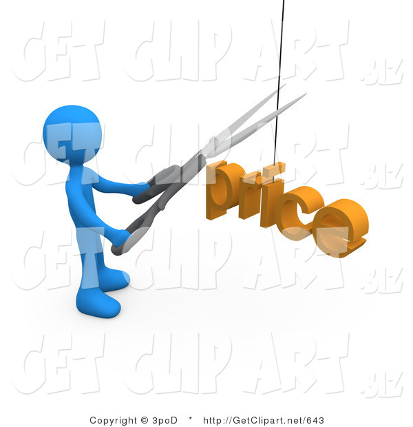 3d Clip Art of a Blue Man Cutting a Price with a Pair of Scissors