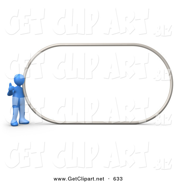 3d Clip Art of a Blue Man Giving the Thumbs up While Standing by a Big Blank Sign Which Is Ready for an Advertisement