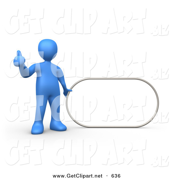 3d Clip Art of a Blue Man Giving the Thumbs up While Standing by a Blank Sign Which Is Ready for an Advertisement
