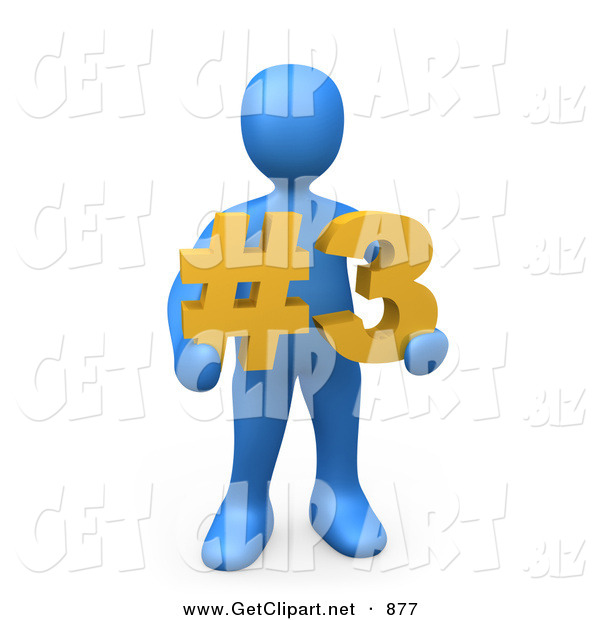 3d Clip Art of a Blue Man Holding a Number Three Sign