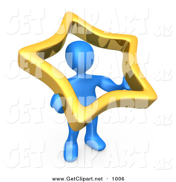 3d Clip Art of a Blue Man Holding up a Golden Star to Symbolize That They Are Famous