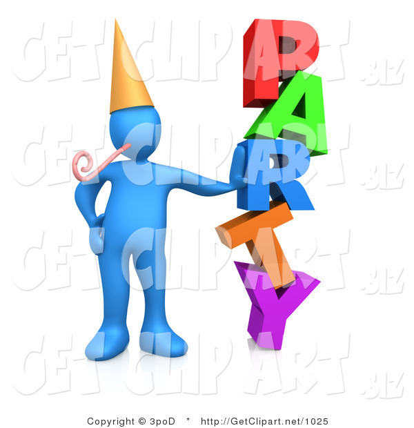 3d Clip Art of a Blue Man in a Gold Party Hat with a Party Blower, Leaning Against the Colorful Word Party