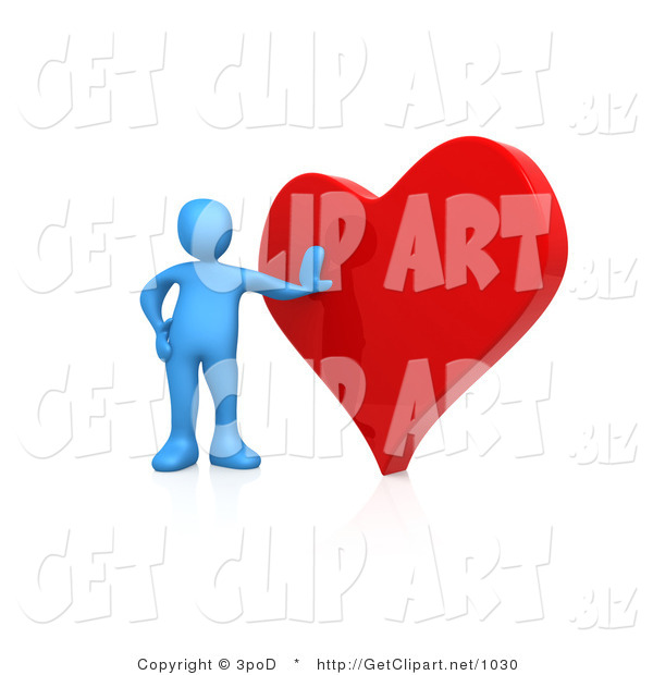 3d Clip Art of a Blue Man Leaning Against a Big Red Heart