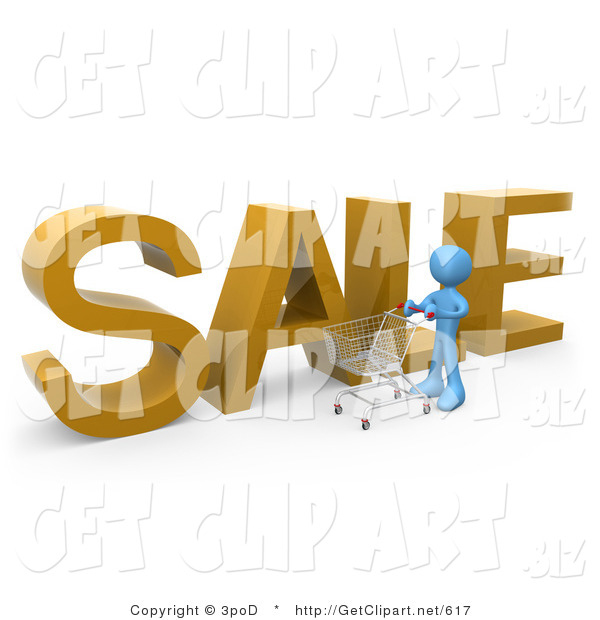 3d Clip Art of a Blue Man Pushing a Shopping Cart by a Large Golden Sale Sign in a Store