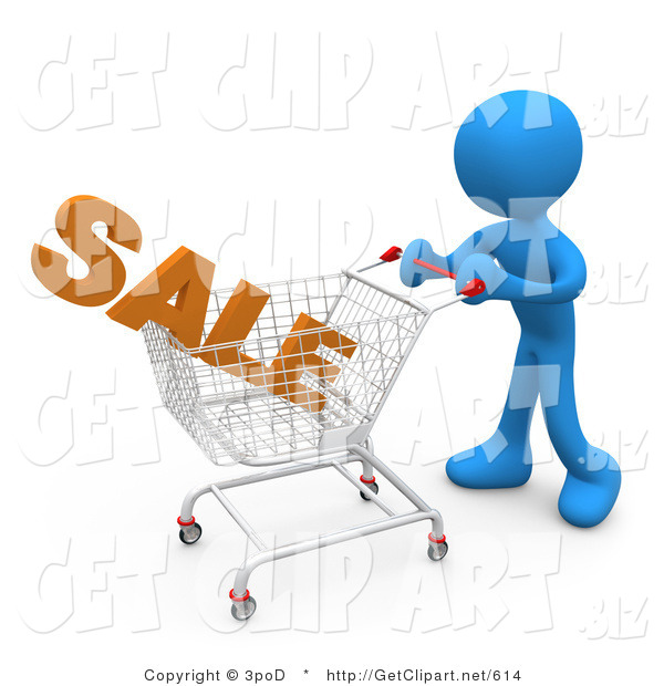 3d Clip Art of a Blue Man Pushing a Shopping Cart in a Store with the Word Sale in It