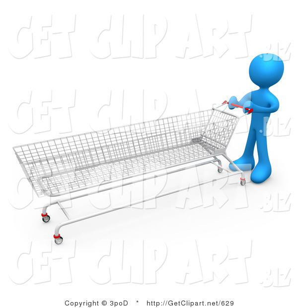 3d Clip Art of a Blue Man Pushing a Super Long Shopping Cart in a Store While Planning to Purchase a Lot