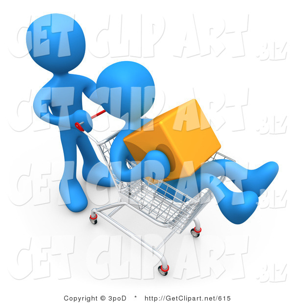 3d Clip Art of a Blue Man Pushing Another Person Who Is Holding a Cube and Riding in a Shopping Cart in a Store