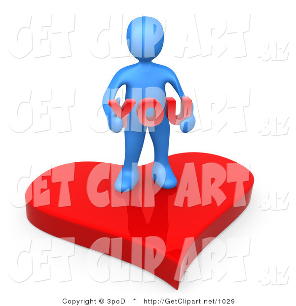 3d Clip Art of a Blue Man Stading on a Red Heart Platform and Holding the Word You