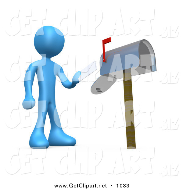 3d Clip Art of a Blue Man Standing in Front of a Mailbox with the Red Flag Up, Mailing a Letter