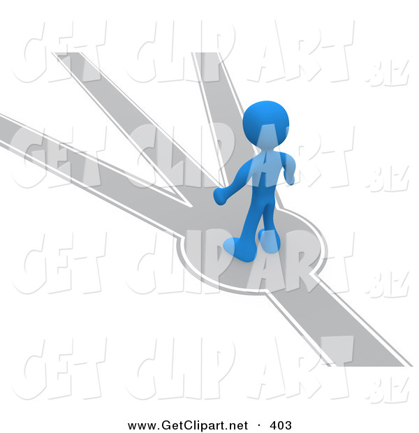 3d Clip Art of a Blue Man Standing on a Path That Forks off into Different Directions, Trying to Decide Which Way to Go