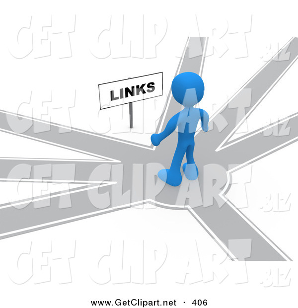 3d Clip Art of a Blue Man Standing on a Path That Forks off into Different Directions, Trying to Decide Which Way to Go While Facing a Links Sign