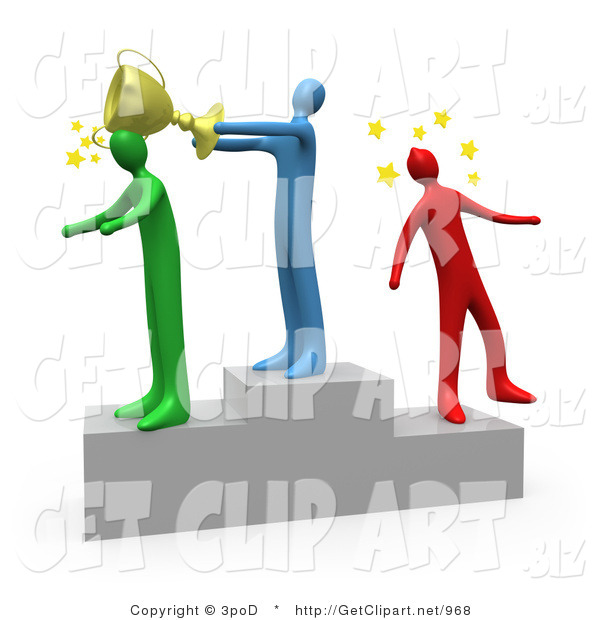 3d Clip Art of a Blue Man Standing on the Winning Teir of a Podium and Whacking the Runner up with a Golden Trophy Cup After Hitting the 3rd Place Runner up on the Head