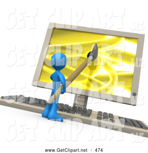 3d Clip Art of a Blue Man Using a Paintbrush on a Flat Screen Computer Monitor to Create an Image on Screen