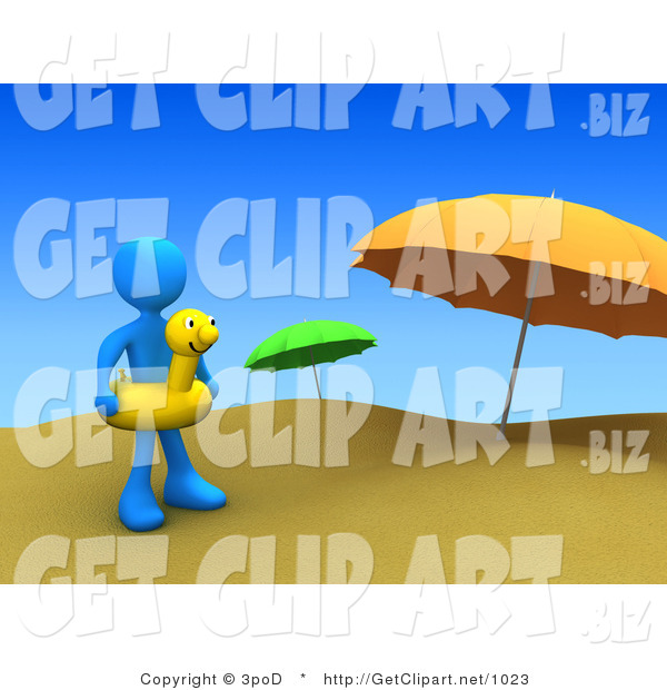 3d Clip Art of a Blue Man Wearing a Yellow Inner Tube with a Face Around Their Waist and Standing by Beach Umbrellas at a Sandy Beach on Summer Vacation