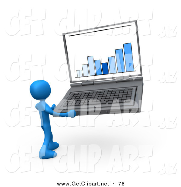 3d Clip Art of a Blue Person Holding an Oversize Laptop Computer with an Ascending Bar Graph on the Screen
